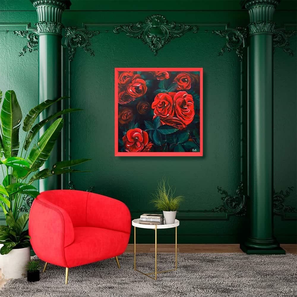 décoration d'intérieur vert rouge tableau artiste déco fleurs roses rouges
