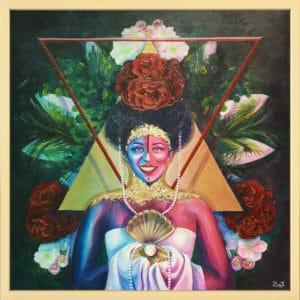 tableau artiste déco portrait femme fleurs