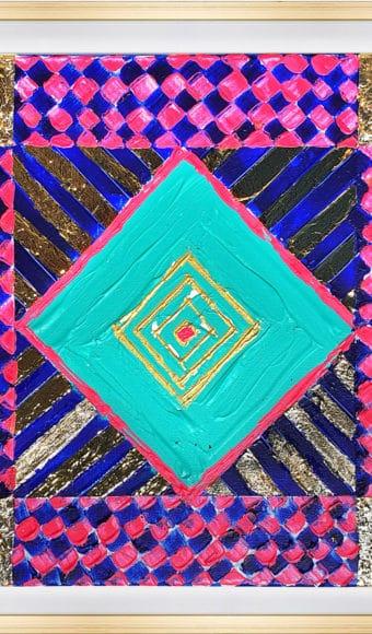 Tableau Abstrait - Géométrie carré et Or