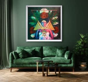 décoration intérieur vert tableau artiste déco portrait femme fleurs reine maya