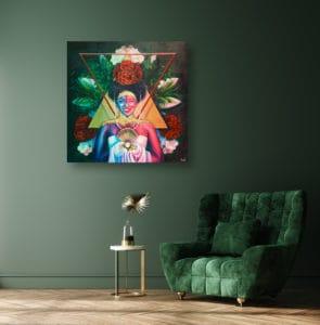 décoration intérieur vert tableau artiste déco portrait femme fleurs reine maya cadre effet toile