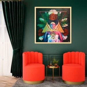 décoration intérieur vert rouge tableau artiste déco portrait femme fleurs reine maya