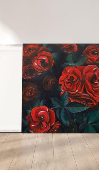 reproduction cadre effet toile tableau artiste déco fleurs roses rouges