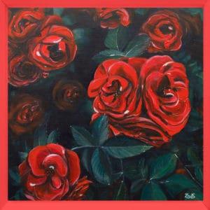tableau artiste déco fleurs roses rouges original