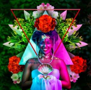 photomontage tableau artiste déco portrait femme fleurs or reine maya