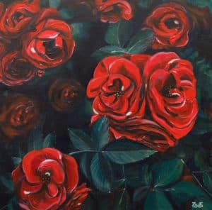 tableau artiste déco fleurs roses rouges