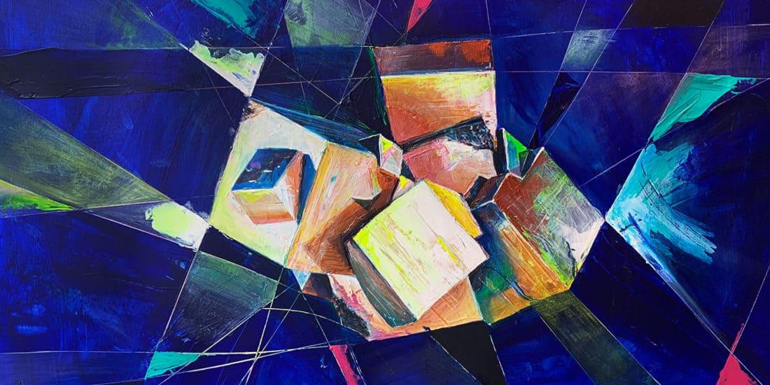 tableau artiste déco bleu pyrite