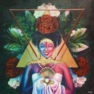 tableau artiste déco portrait femme fleurs or reine maya