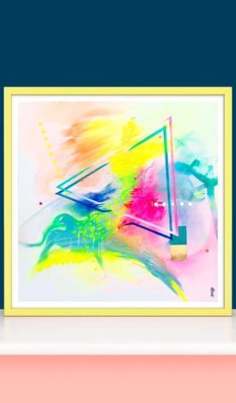 décoration d'intérieur bleu rose poster tableau artiste déco abstrait douce accalmie collection éveil