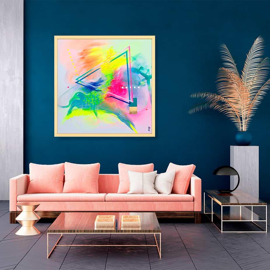 décoration d'intérieur bleu et rose tableau artiste abstrait douce accalmie collection éveil