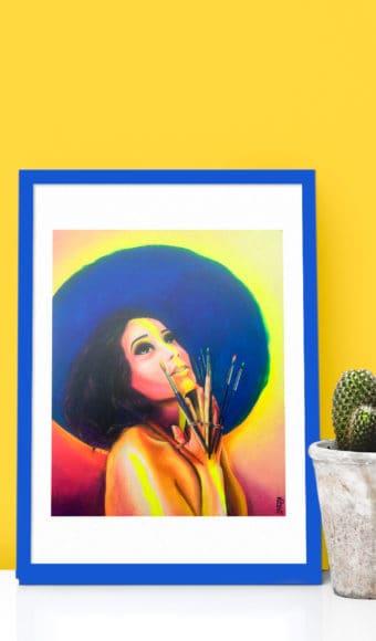 décoration intérieur reproduction poster tableau artiste déco portrait femme Zohra aux mains de pinceaux