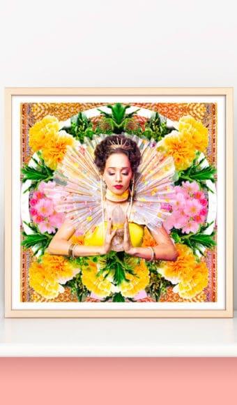 décoration d'intérieur poster tableau artiste déco photo portrait femme fleurs déesse au cristal