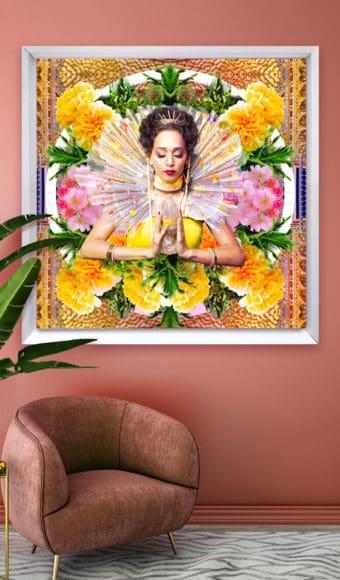 décoration d'intérieur rose tableau artiste déco portrait femme fleurs déesse au cristal