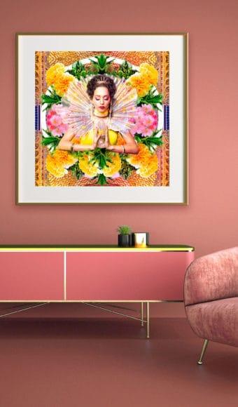 décoration d'intérieur rose tableau artiste déco photo portrait femme fleurs déesse au cristal