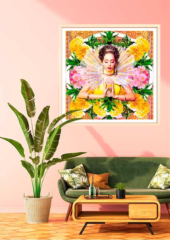 décoration d'intérieur rose vert tableau artiste déco photo portrait femme fleurs déesse au cristal