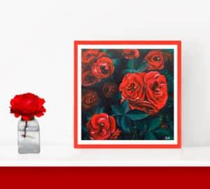 décoration intérieur rouge tableau artiste déco fleurs roses rouges poster