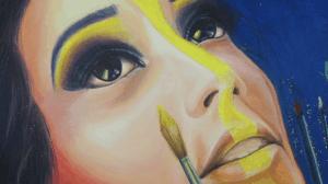 détail texture peinture tableau artiste déco portrait zohra aux mains de pinceaux