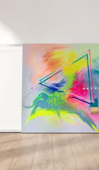 reproduction cadre effet toile tableau artiste déco abstrait douce accalmie collection éveil