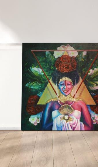reproduction cadre effet toile tableau artiste déco portrait femme fleurs reine maya
