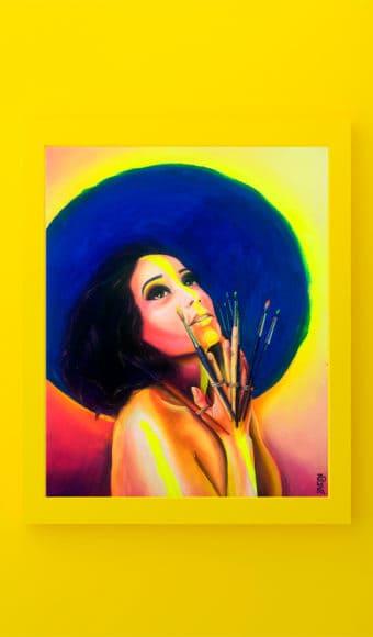 reproduction poster tableau artiste déco portrait femme Zohra aux mains de pinceaux