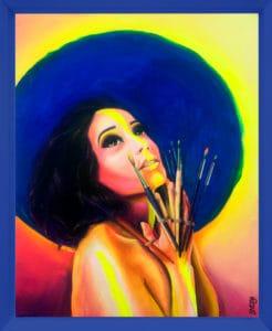 tableau-artiste-déco-portrait-femme-zohra-aux-mains-de-pinceaux-cadre-bleu