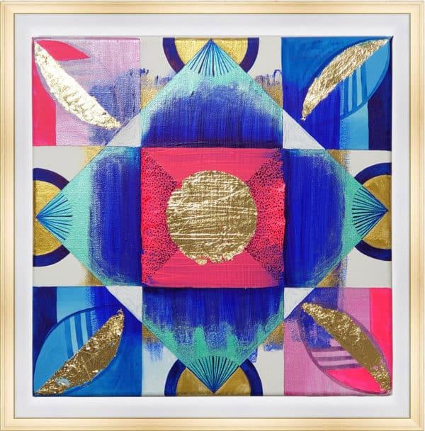 Tableau Abstrait 30 x 30 cm - Vibrations indiennes