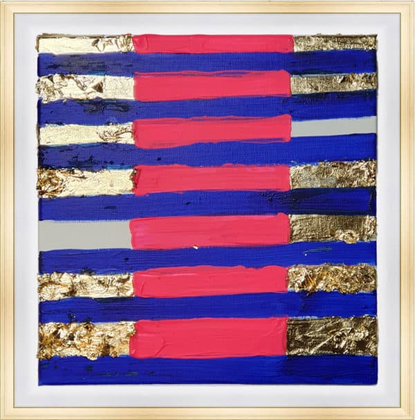 Tableau Abstrait 40 x 40 cm - Rythme rayé Bleu et Or