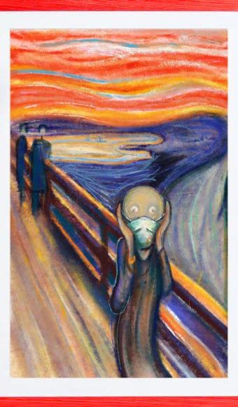 """Poster """"Le Cri"""" sur Terre en Mars 2020 - Réinterprétation de l'œuvre de Edvard Munch - A2"""