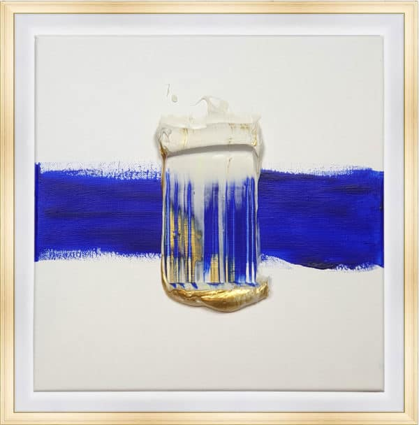 Tableau Abstrait - Trainée Bleue Blanche et Dorée