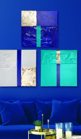 Tableaux Triptyque Abstraits 40 x 40 cm - Trio de passions