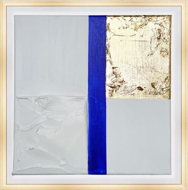 Tableau Abstrait - Passion Bleue Blanche et Or