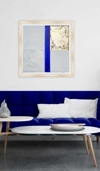 Poster Abstrait - Passion Bleue Blanche et Or - 40 x 40 cm