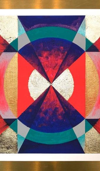 Poster Abstrait - Psychédéliques Vibrations- 40 x 40 cm