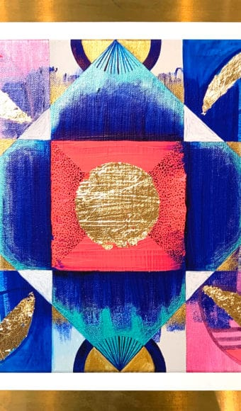 Poster Abstrait - Vibrations indiennes - 40 x 40 cm