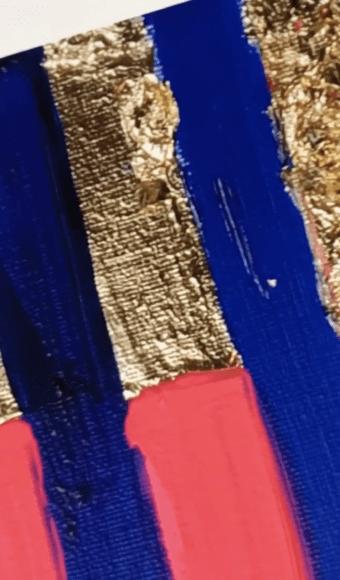 Poster Édition limitée - Abstrait : Rythme rayé Bleu et Or - 40 x 40 cm