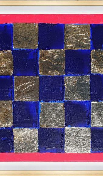 Tableau Abstrait - Damier Bleu et Or
