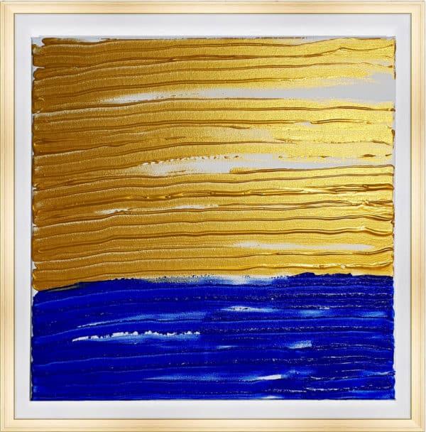 Tableau Abstrait - Horizon Bleu et Or