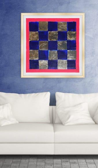 Poster Abstrait - Damier bleu et or