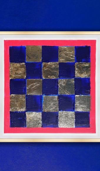 Tableau Abstrait 40 x 40 cm- Damier Bleu et Or
