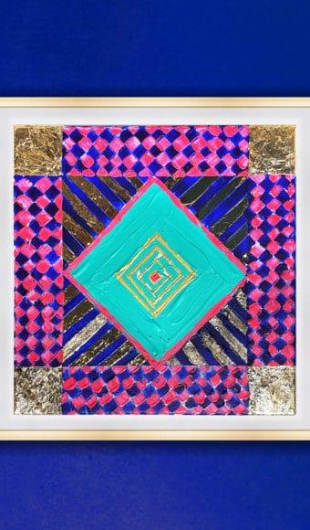 Poster Édition limitée - Abstrait : Géométrie carré et or