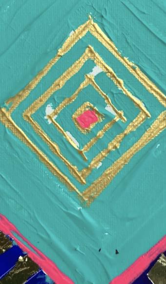 Tableau Abstrait 40 x 40 cm - Géométrie carré et Or